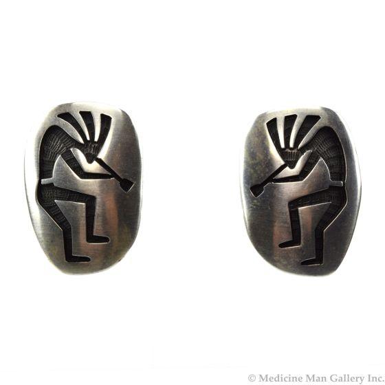 "Bernard Dawahoya - Hopi Silver Overlay Clip-on Earrings with Kokopelli Design c. 1980s, 1.125"" x 0.75"" (J91046-1219-002)"