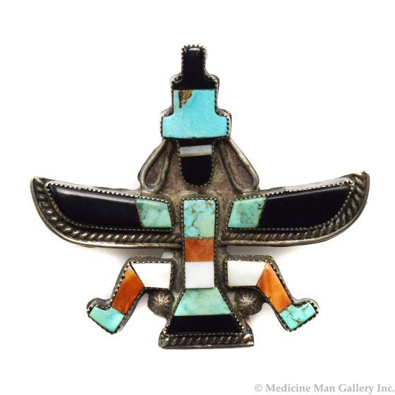"Leo Poblano - Zuni Multi-Stone Inlay and Silver Knifewing God Pin c. 1940s, 1.75"" x 1.75"""
