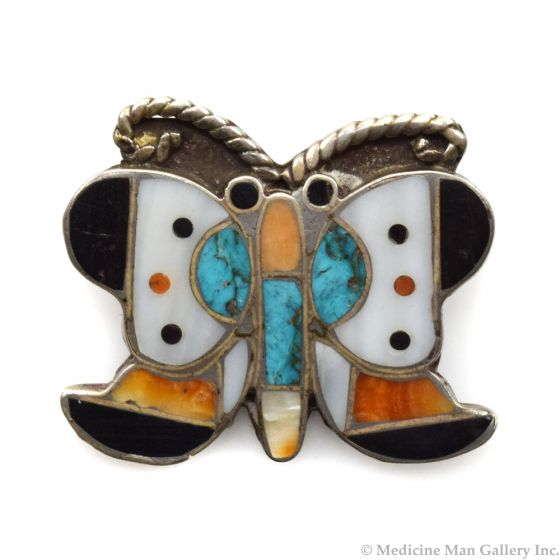 """Lambert Homer - Zuni Multi-Stone Channel Inlay and Silver Butterfly Pin c. 1930s, 1.25"""" x 1.25"""""""