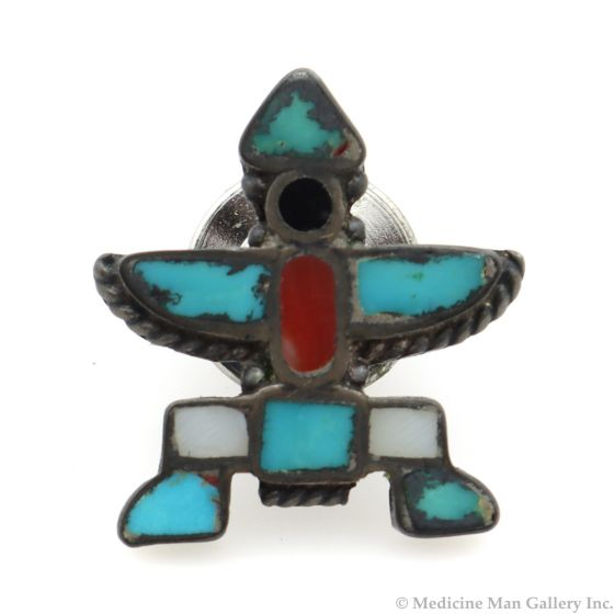 """Zuni Multi-Stone Channel Inlay and Silver Knifewing God Tie Tack c. 1950s, 0.75"""" x 0.75"""" (J91244B-1120-007)"""