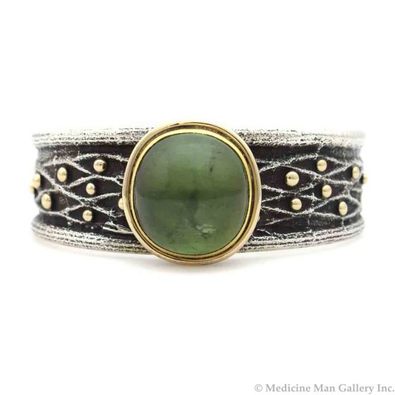 Frank Patania Jr. - Contemporary Green Tourmaline, 14K Gold, and Sterling Silver Sandcast Bracelet, size 6.75 (J91300C-1120-001)