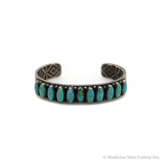 Kirk Smith (1957-2012) - Navajo Turquoise and Sterling Silver Row Bracelet c. 1980s, size 6.75 (J91303C-0521-002)