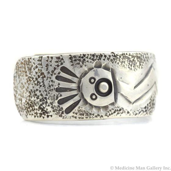Miramontes - Sterling Silver Navajo Yei Dancer Bracelet Cuff, size 7.5
