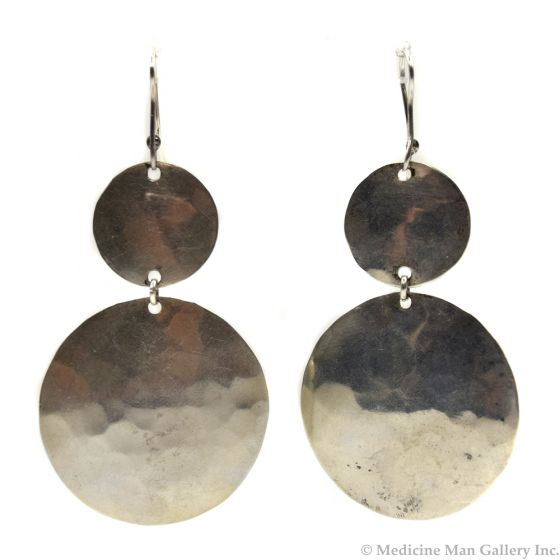 Miramontes Silver Hammered Double Round Earrings