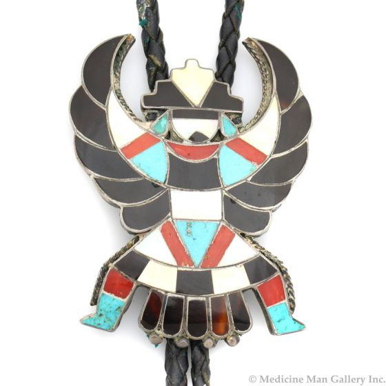 """Zuni Multi-Stone Channel Inlay and Silver Bolo Tie with Knifewing God Design c. 1960s, 2.75"""" x 2"""" (J91339B-0120-005)"""
