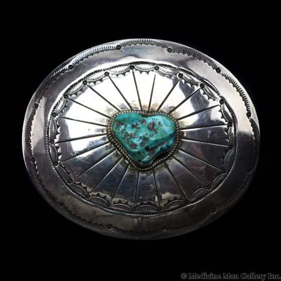 """Navajo Turquoise and Silver Belt Buckle c. 1940s, 2.75"""" x 3"""" (J91467-0520-003)"""