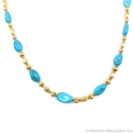 Frank Patania, Jr. - 14K Gold and Sleeping Beauty Turquoise Necklace (J91620A-0217-015