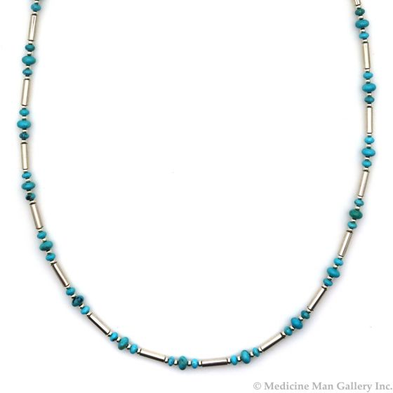 "Frank Patania, Jr. - Turquoise and Sterling Silver Beaded Necklace, 30"" length (J91620A-0221-017)"