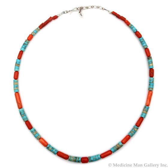 "Coral, Turquoise, and Sterling Silver Heishi-Style Necklace, Strung by Frank Patania, Jr., 23"" length (J91620A-0221-022)"