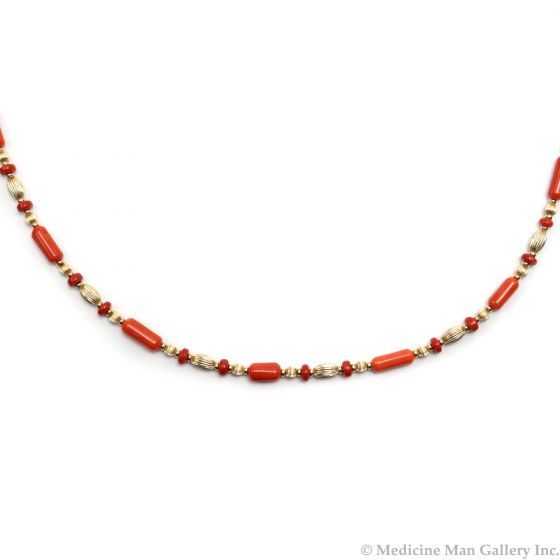 "Frank Patania, Jr. - Natural Coral and 14K Gold Beaded Necklace, 31"" length (J91620A-0620-002)"