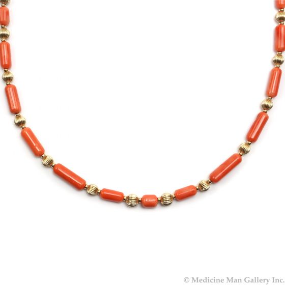 "Frank Patania, Jr. - Natural Coral and 14K Gold Beaded Necklace, 25"" length (J91620A-0620-004)"