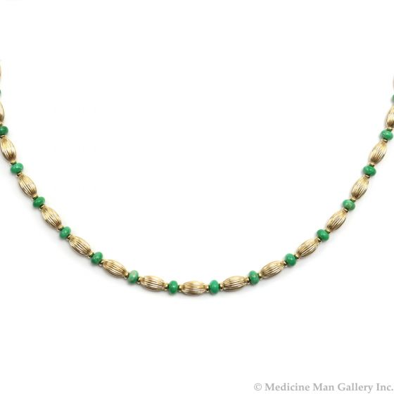 "Frank Patania, Jr. - Variscite and 14K Gold Beaded Necklace, 21"" length (J91620A-0620-005)"