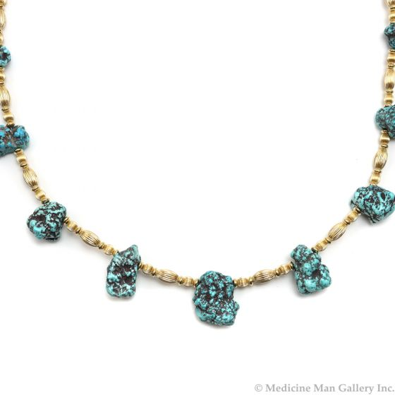 """Frank Patania, Jr. - Natural Kingman Turquoise Nuggets and 14K Gold Beaded Necklace, 24"""" length (J91620A-0620-006)"""