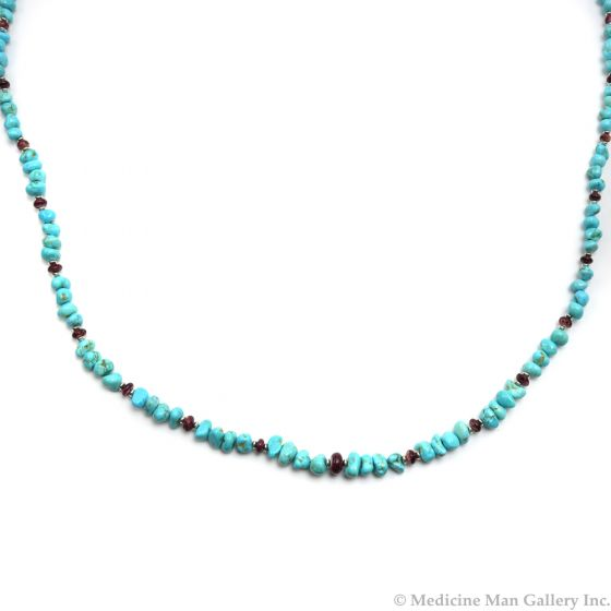 """Frank Patania, Jr. - Natural Turquoise, Natural Spiny Oyster, and Sterling Silver Beaded Necklace, 32"""" length (J91620A-0620-013)"""