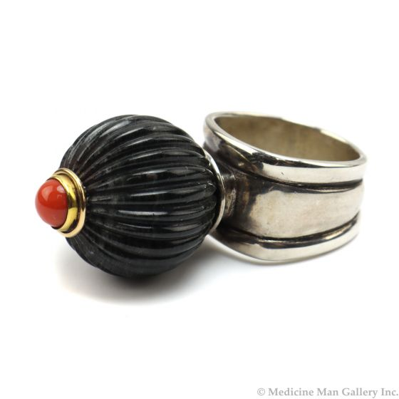 Frank Patania, Jr. - Natural Coral, Natural Picasso Marble, 14K Gold, and Sterling Silver Ring, size 8 (J91620A-0620-016)