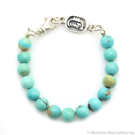 Sam Patania Collection - Chinese Turquoise Beaded and Sterling Silver Bracelet, size 7.25 (J91699-0221-002)