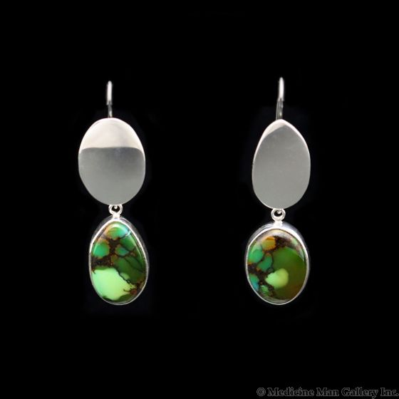 """Sam Patania - """"Earth Earrings"""" Couture Bao Canyon (Chinese) Turquoise and Sterling Silver Hook Earrings, 2.25"""" x 0.625"""" (J91699-0421-003)"""