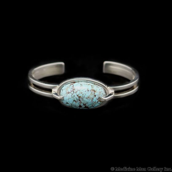 Sam Patania - Couture Persian Turquoise and Sterling Silver Bracelet, size 6.5 (J91699-0521-001)