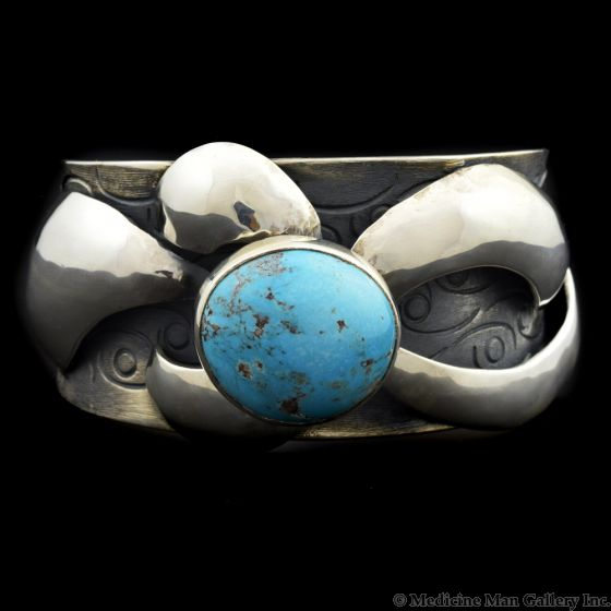 Sam Patania - Contemporary Bisbee Turquoise and Silver Bracelet, size 6.75 (J91699-0819-001)1