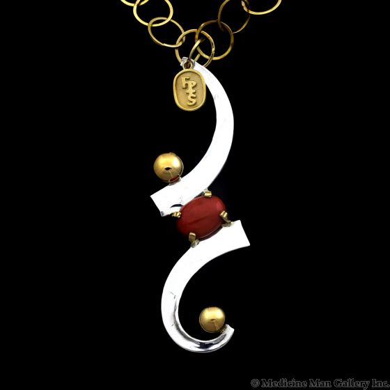 """Sam Patania - Contemporary Coral, Sterling Silver and 18Kt. Gold Necklace, 18"""" length (J91699-0819-004)1"""