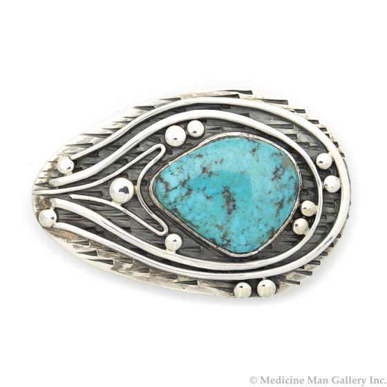 """Sam Patania - """"Bisbee Shockwave"""" Couture Bisbee Turquoise and Sterling Silver Belt Buckle, 2"""" x 3"""" (J91699-0820-002)"""
