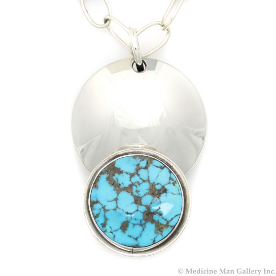 """Sam Patania - Couture Natural Blue Gem Turquoise and Sterling Silver Pendant and Chain, 3.25"""" x 2"""" pendant (J91699-1220-003)"""