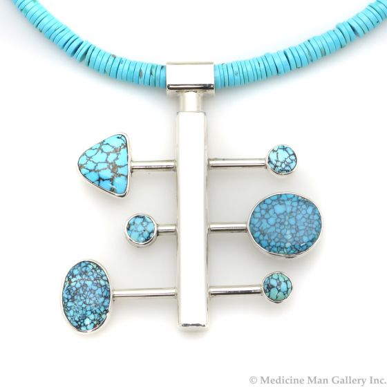 """Sam Patania - """"Nebula I"""" Couture Natural Number 8 Spider Web Turquoise and Sterling Silver Pendant with Natural Sleeping Beauty Heishi and Sterling Silver Chain, 2.75"""" x 2.5"""" pendant (J91699-1220-004)"""