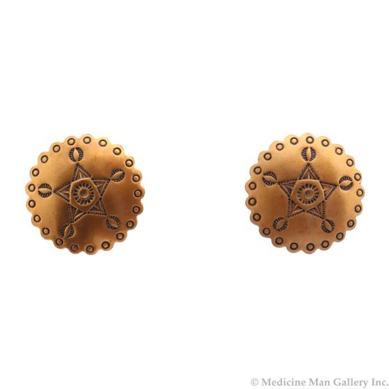 """Navajo Copper Screw-back Earrings with Stamped Design c. 1950s, 0.875"""" diameter (J91868A-0121-055)"""