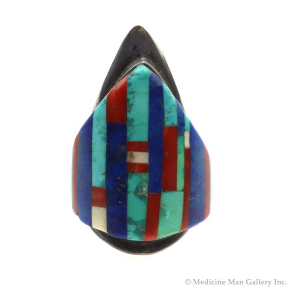 Charles Loloma (1921-1991) - Hopi Multi-stone Inlay and Silver Ring c. 1970s, size 8.75