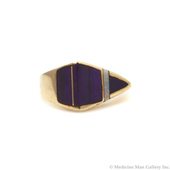 Andy Lee Kirk (1947-2001) - Isleta/Navajo Contemporary Sugilite, Opal, and 14K Gold Asymmetrical Ring, size 5 (J91963-0721-005)