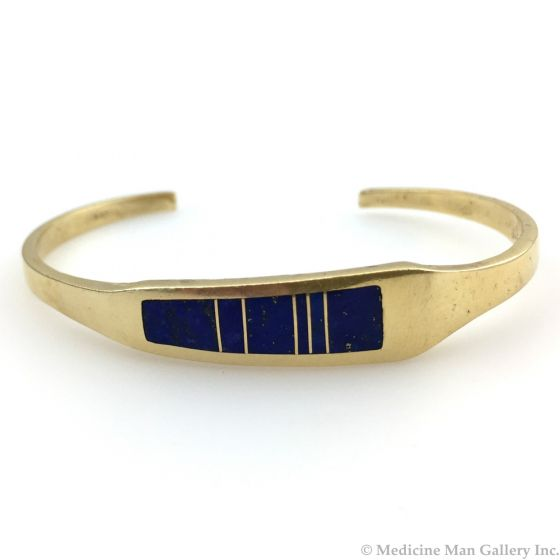 Ray Tracey - Navajo 14K Gold and Lapis Lazuli Bracelet, c. mid-1980s, size 6.5