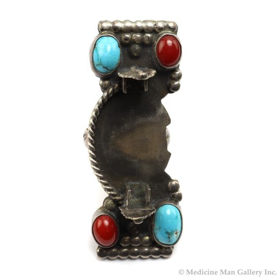 Marie Dale - NavajoTurquoise, Coral, and Silver Watchband Ring c. 1950s, size 7.5 (J92210-0211-014)