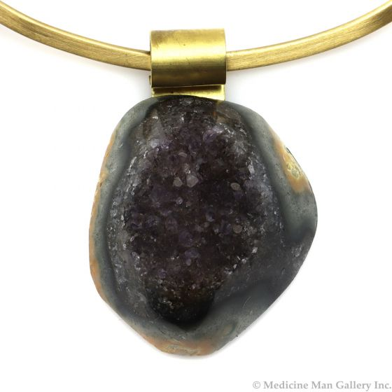 """Shirley Wagner - Natural Amethyst Druzy Pendant with Banded Agate, Brass Bale and Gold Tone Matte Collar with Clasp, 2.25"""" x 1.5"""" x 1"""" (J92312A-0520-002) 1"""