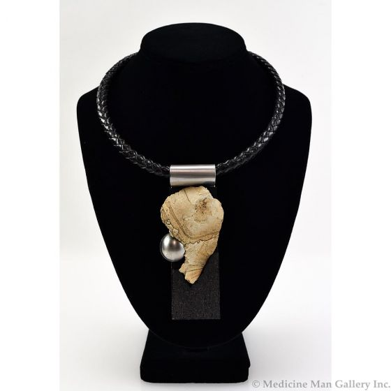 SOLD Shirley Wagner - Gibbs Jasper, Cork, and Stainless Steel Pendant with Braided Leather Choker