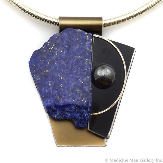 Shirley Wagner - Natural Lapis Lazuli, Aluminum, Hematite Cabochon, and Leather Pendant with Steel Neck Wire