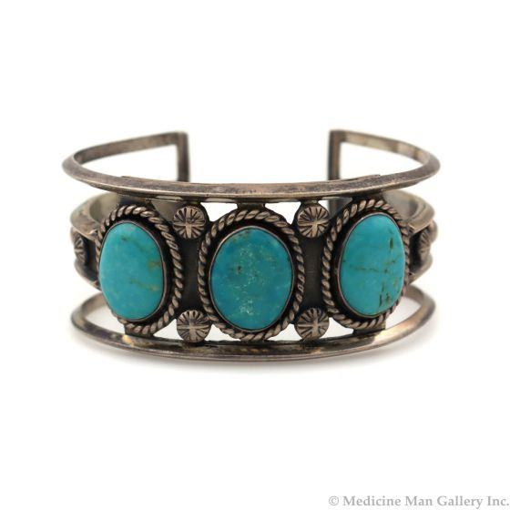 Navajo Turquoise and Silver Bracelet c. 1950-60s, size 6.75 (J92336-0821-021)