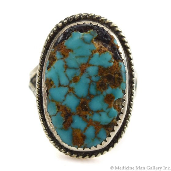 Bessie Tanger - Navajo Turquoise and Silver Ring c. 19, size 7