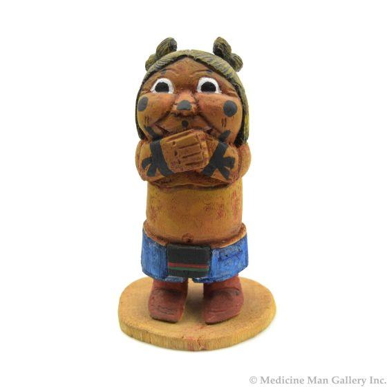 "John David, Sr. - Contemporary Hopi Child Figurine, 4.25"" x 2.5"" x 2.5"""
