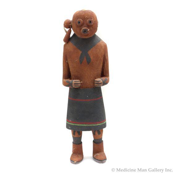 """Hopi Mudhead Kachina c. 1940s, 7.25"""" x 2.25"""" x 2"""" (K1574)"""