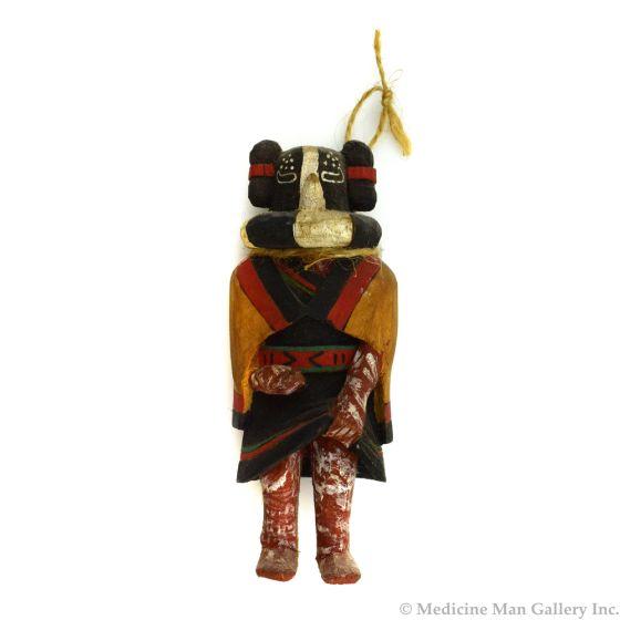 "Hopi Kokopolo Mana Kachina Ornament c. 1980s, 5.5"" x 2.25"" x 1.75"""