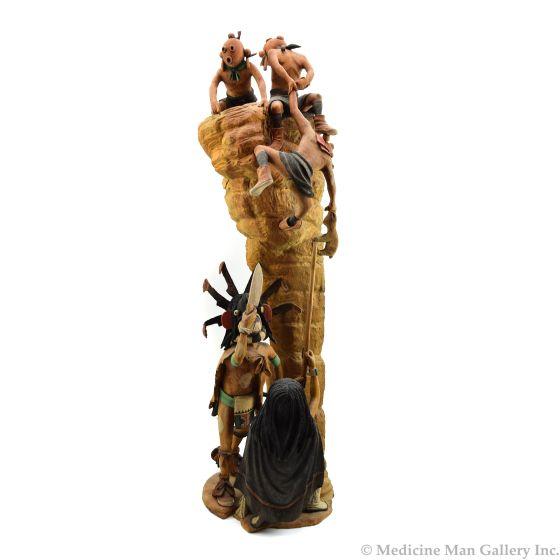 """Stetson Honyumptewa - Hopi Chaveyo, Soyuk Wuhti, and Mudhead Kachina Sculpture, 1998, 32"""" (K91958-0419-019)"""