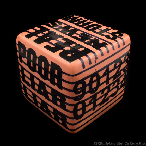 Kaiser Suidan - Pink and Black Word Collage Porcelain Cube