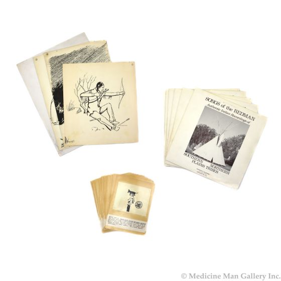 Group of 56 Original Kiowa Drawings, 120 Anko Calendar Drawings, and 13 Vinyl Records of Songs Arranged and Sung by Various Singers of the Southern and Northern Plains Tribes (M90218C-0621-001)