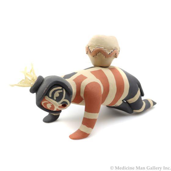 "Loren Wallowing Bull - Contemporary Jemez Polychrome Figurine with ""Kick Me"" Sign, 3.75"" x 6.5"" x 2.5"" (P3181)"