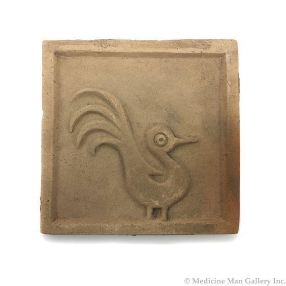 "Awa Tsireh (1895-1955) – San Ildefonso Pottery Tile with Bird, c. 1920s, 4"" x 4"" (P3304-CO-12)"