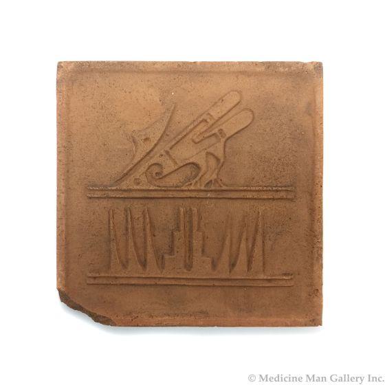 "Awa Tsireh (1895-1955) – San Ildefonso Pottery Tile with Bird, c. 1920s, 5"" x 5"" (P3304-CO-16)"