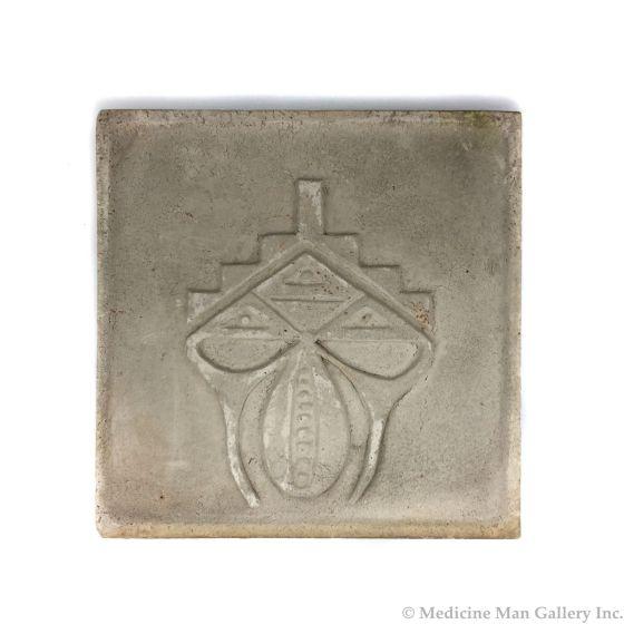 "Awa Tsireh (1895-1955) – San Ildefonso Pottery Tile with Kiva, Mountains and Seeds Design, c. 1920s, 5.25"" x 5.25"" (P3304-CO-42)"
