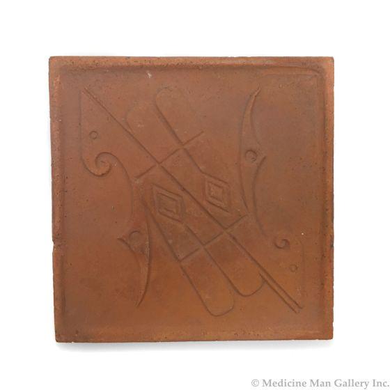 "Awa Tsireh (1895-1955) – San Ildefonso Pottery Tile with Birds, c. 1920s, 5"" x 5"" (P3304-CO-45)"