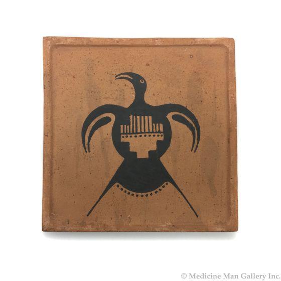 "Awa Tsireh (1895-1955) – San Ildefonso Pottery Tile with Thunderbird, c. 1920s, 5"" x 5"" (P3304-CO-47)"