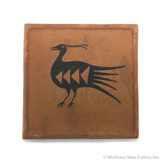 "Awa Tsireh (1895-1955) – San Ildefonso Pottery Tile with Bird, c. 1920s, 5"" x 5"" (P3304-CO-49)"